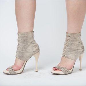 BCBGeneration Snake Print Ankle Wrap Sandals, 7.5B